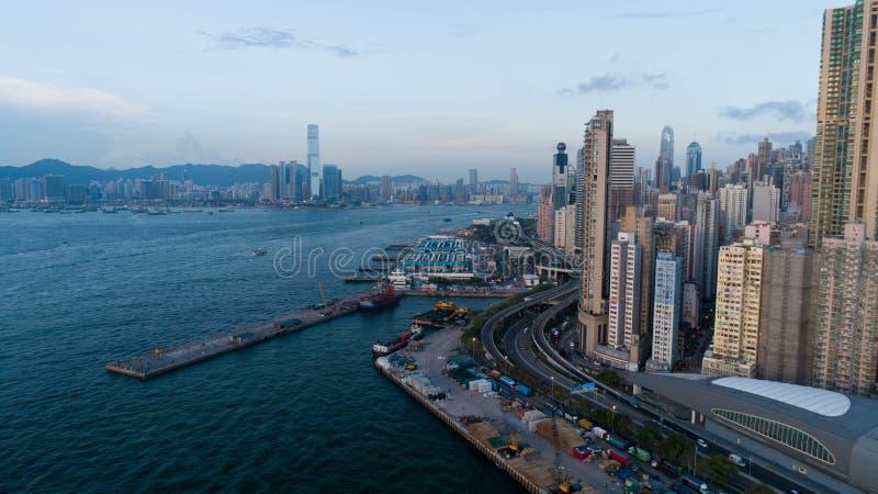 Hong Kong, molo ad ovest, fotografia aerea, molta gente in vacanza a questa fotografia stock