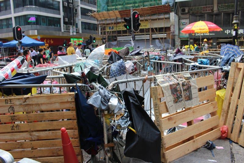 Hong Kong, Mongkok, rivoluzione dell'ombrello immagini stock libere da diritti