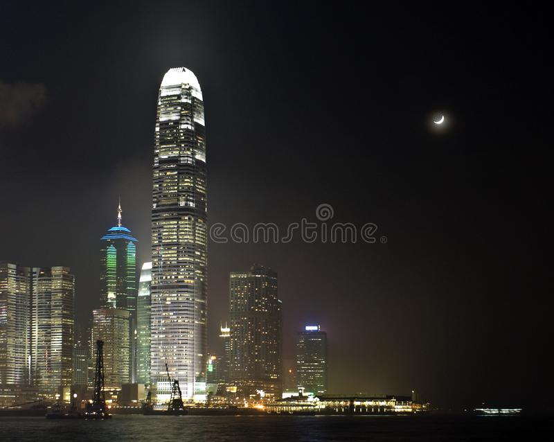 Hong Kong With Moon At Night Free Stock Photo