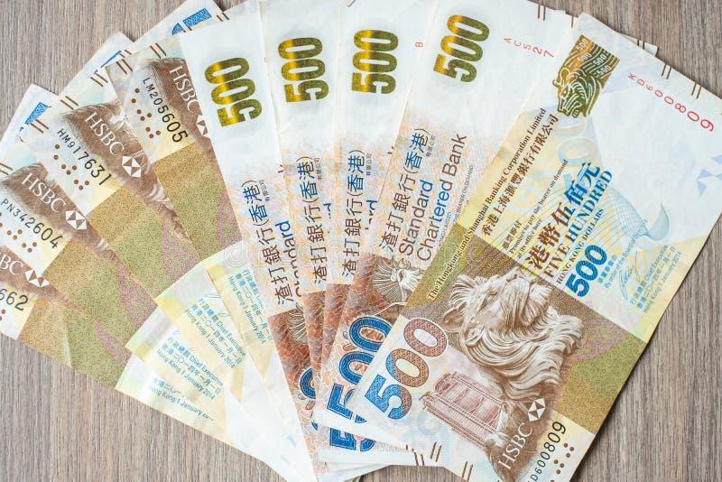 Hong Kong-muntbankbiljetten, de Dollars van HK voor zaken stock foto's