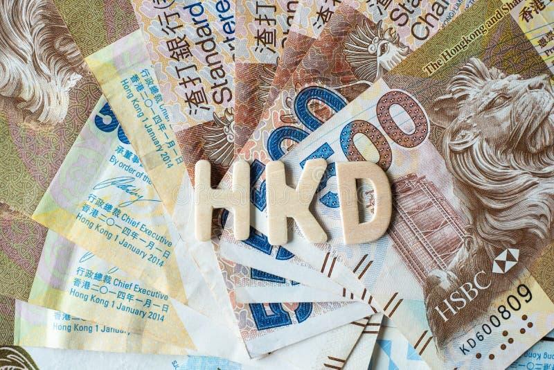 Hong Kong-muntbankbiljetten, de Dollars van HK voor zaken stock afbeeldingen