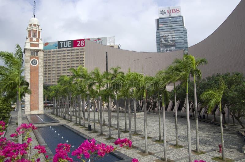 Hong Kong Museum del arte y de la torre de reloj imagenes de archivo