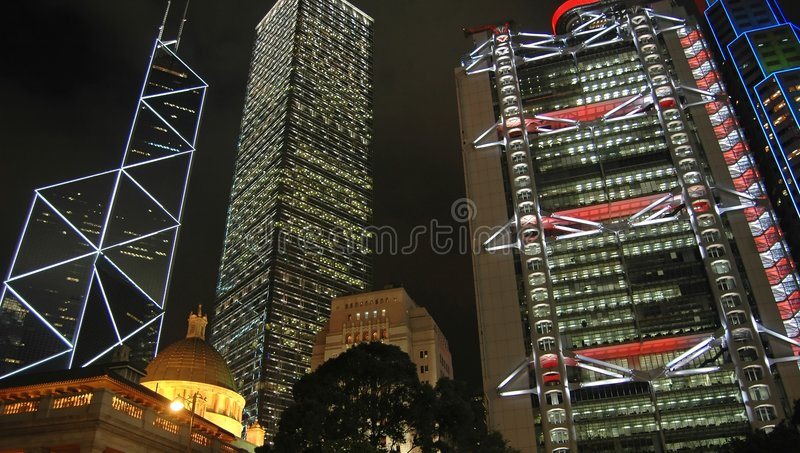 Hong Kong nätter fotografering för bildbyråer