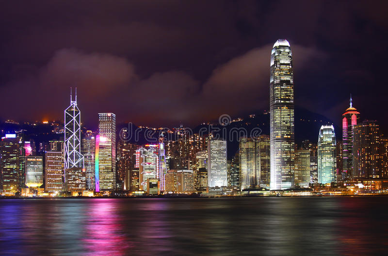 Hong Kong nachts lizenzfreies stockfoto