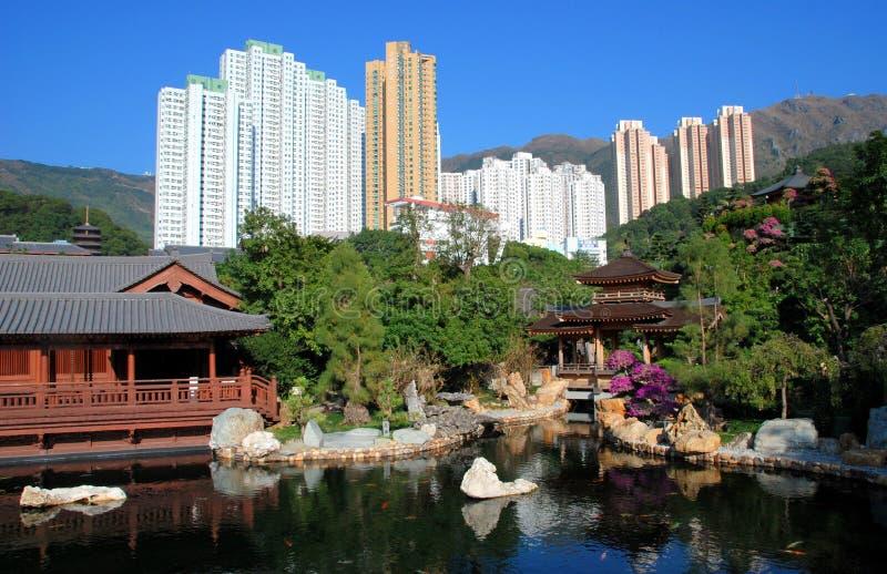 Hong Kong: Nan Lian Garden & Apt. Towers royalty free stock photography