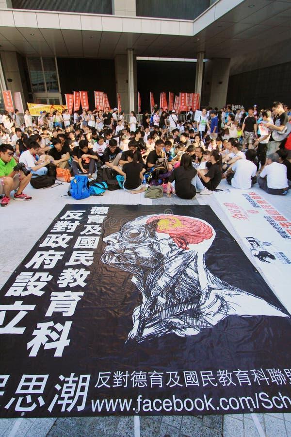 Hong Kong National education raises furor. 29 July, 2012: Parents against the introducing a Moral and National Education subject in Hong Kong royalty free stock photos