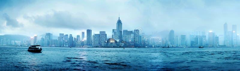 Hong Kong natt fotografering för bildbyråer