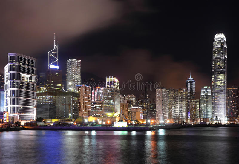 Hong Kong at night royalty free stock image