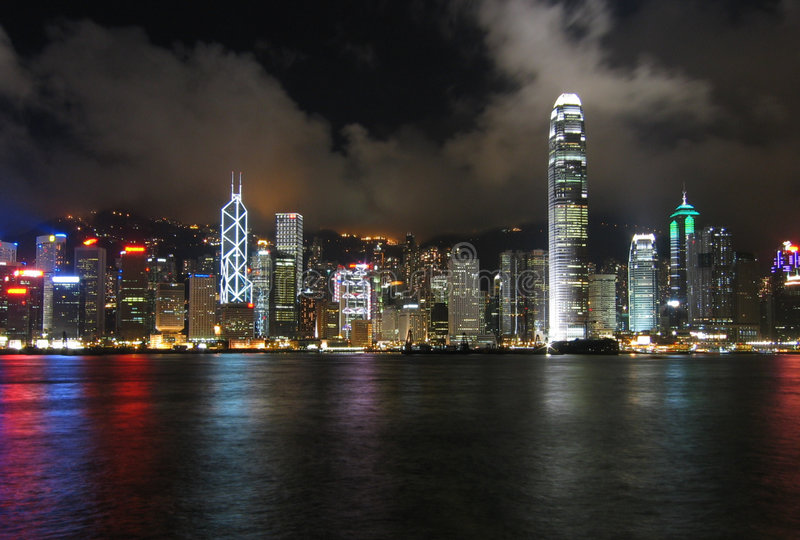 Hong Kong At Night. Taken from Kowloon