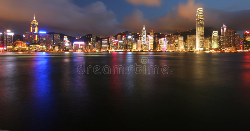 Hong Kong by Night. Hong Kong cityscape by night royalty free stock photography