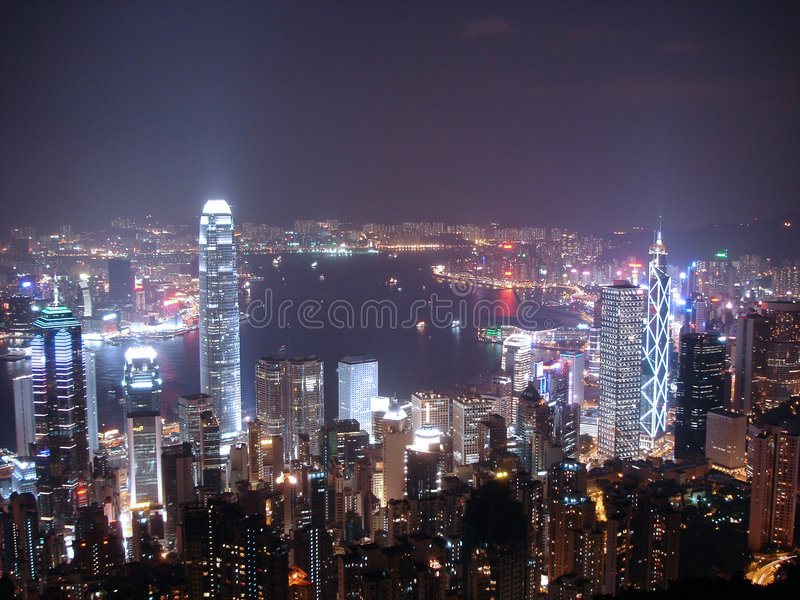 Hong Kong at Night. Night time shot of Hong Kong bay taken from Victoria peak royalty free stock image