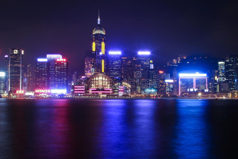 Hong Kong Night City stock photography