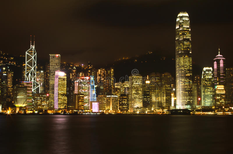 Hong Kong Night City imagens de stock