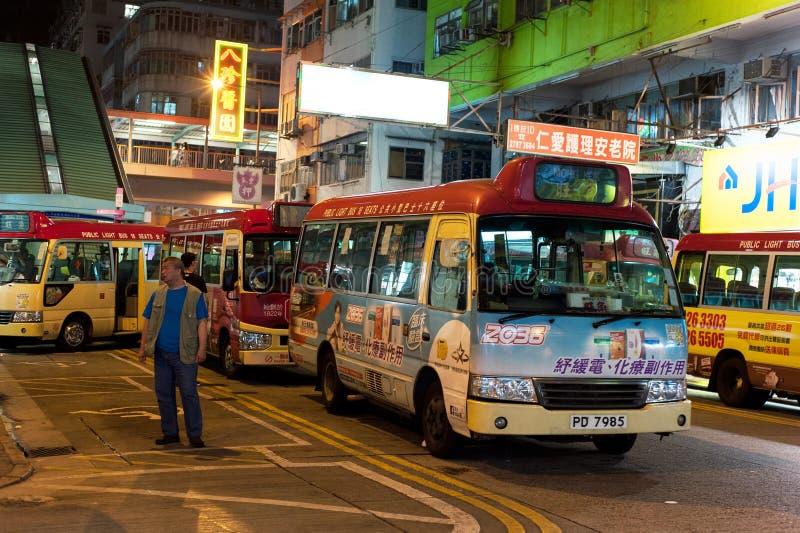 Hong Kong Night Minibus stock photos