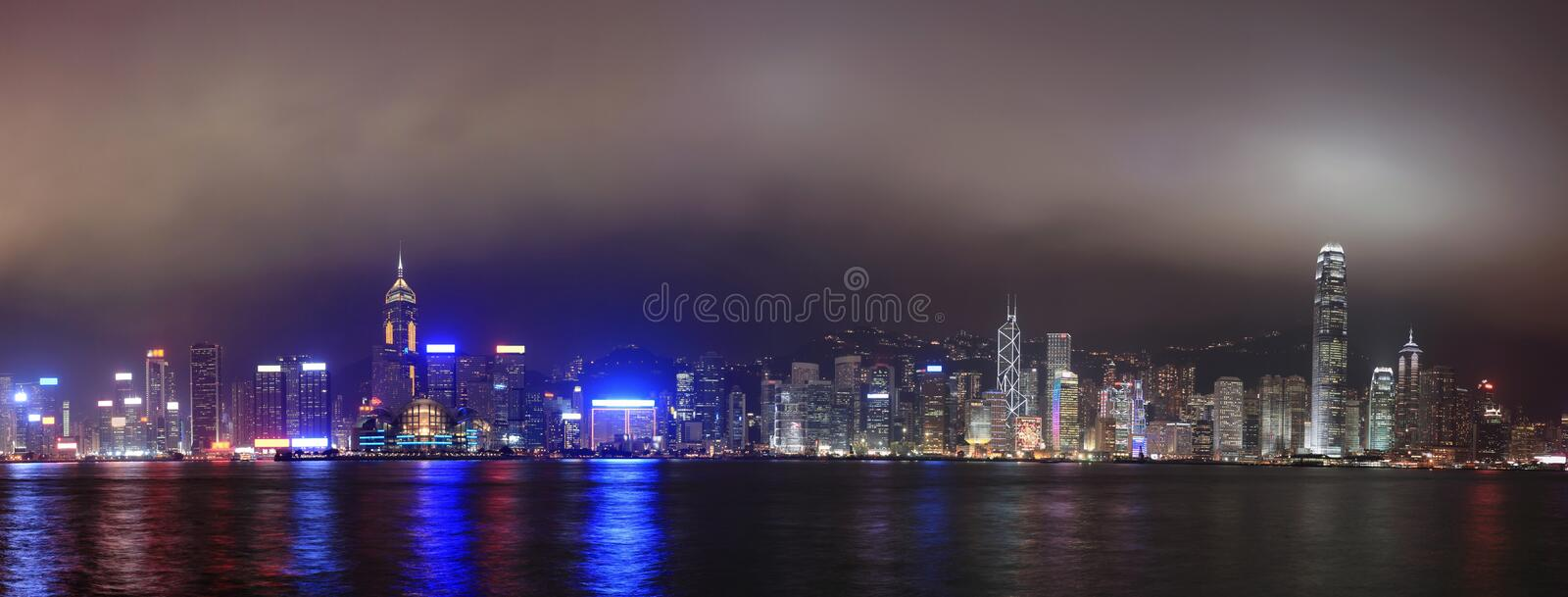 Hong Kong at night, Panorama royalty free stock photography