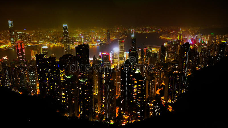 Hong Kong night Scape. Shot from the summit of Victoria Peak stock images
