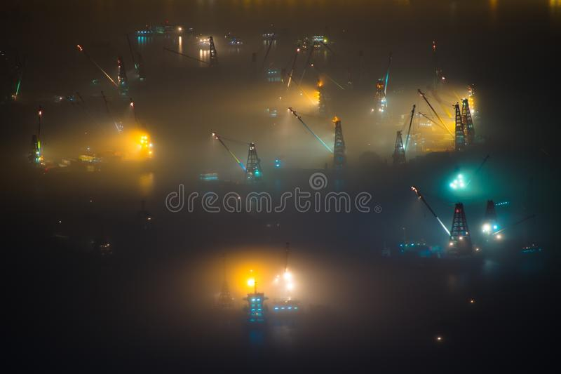 Hong Kong Night Ship Mist Fog Foggy stock images