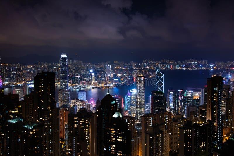 Hong Kong night skyline modern cityscape view from the Victoria peak. Hong Kong night skyline illuminated modern cityscape view from the Victoria peak, china stock image
