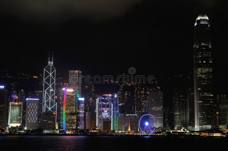 Hong Kong Night time in Central. Night screne by nikon D300 beautiful leasure stock images