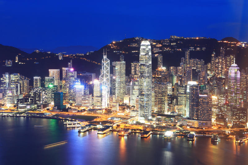 Download Hong Kong night view stock photo. Image of office, downtown - 34381444