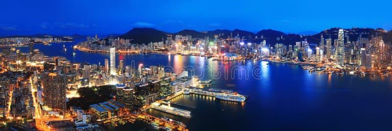 Hong Kong night view. In panorama