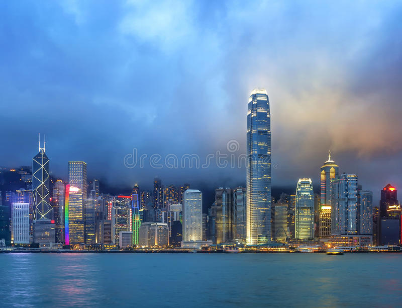 Hong Kong night view of Victoria Harbor. Hong Kong Island business district royalty free stock photos