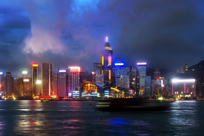 Hong Kong night view of Victoria Harbor. Hong Kong Island business district stock photography