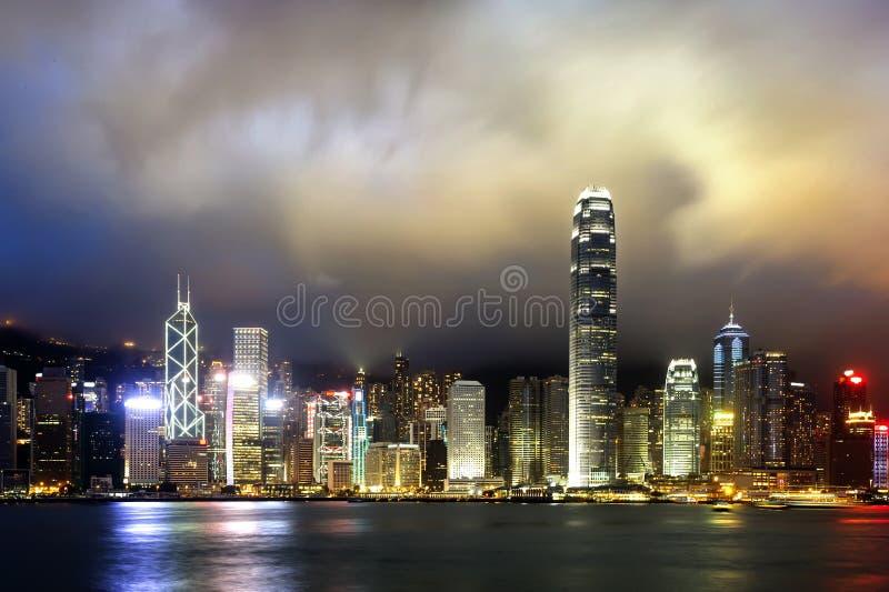 Hong Kong night view of Victoria Harbor,. Hong Kong Island business district royalty free stock images