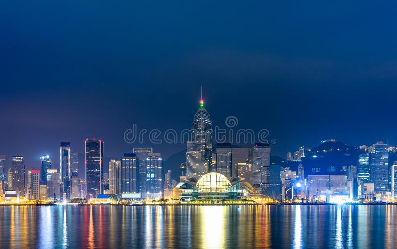 Hong Kong at night , view from victoria harbor. Hong Kong at night , view from victoria harbor : The most famous place in Hong Kong stock image