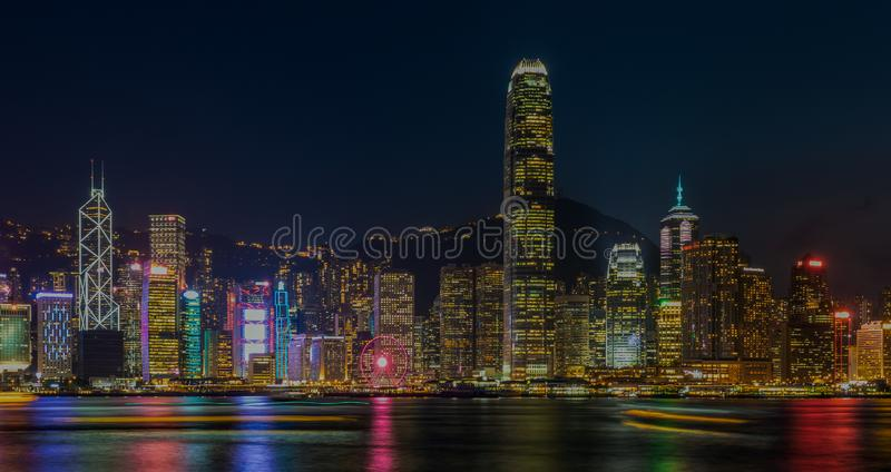 Hong Kong night view at Victoria Harbor stock photo