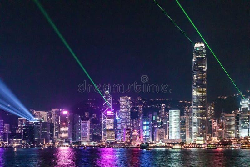 Hong Kong Night View, Victoria Harbour stock fotografie