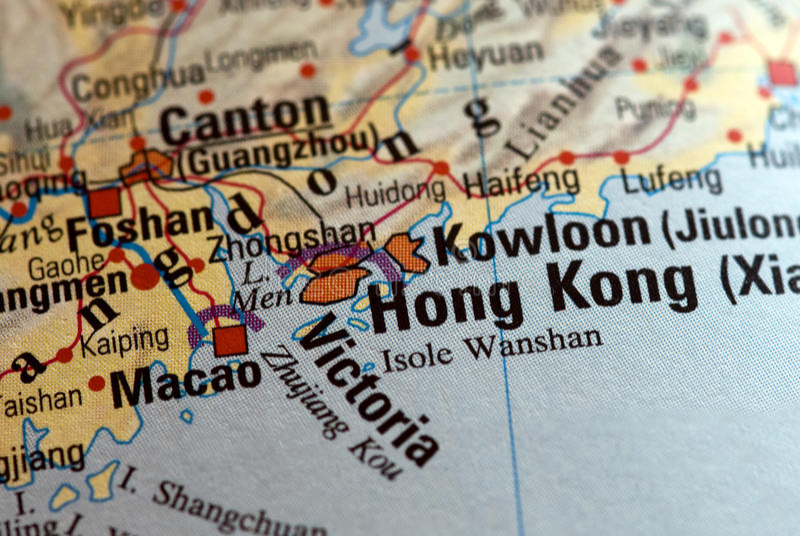 Hong Kong no mapa imagem de stock royalty free