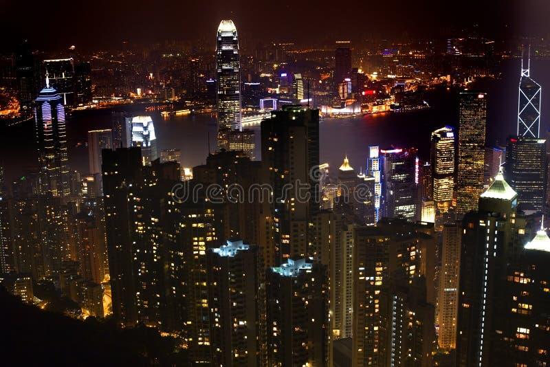Hong Kong no pico da noite imagens de stock royalty free