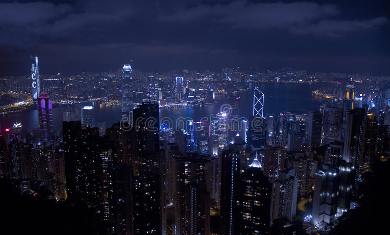 Hong Kong nocne niebo zdjęcia royalty free