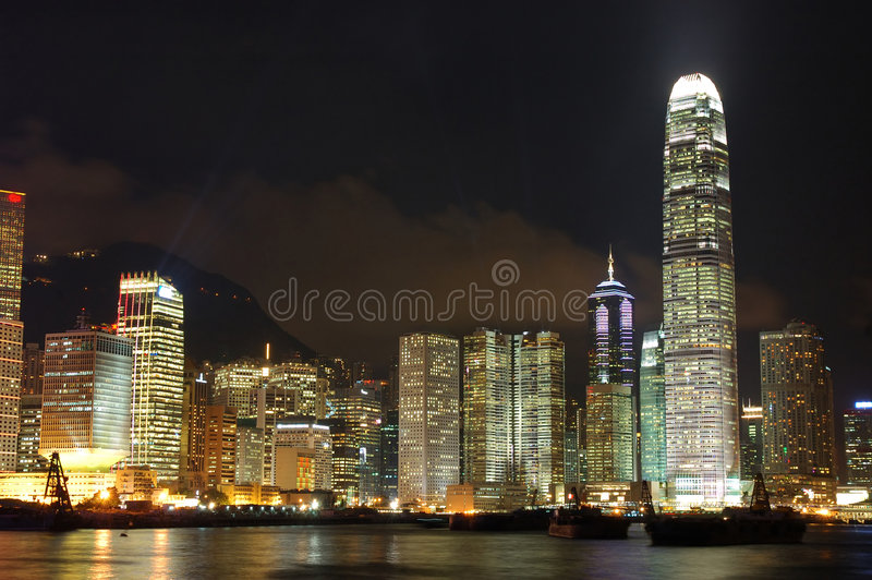 hong kong nocy scena zdjęcia royalty free