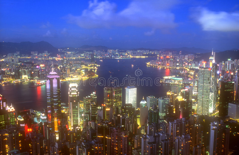 hong kong nocy scena zdjęcie stock
