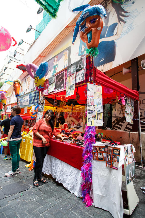 HONG KONG - NOVEMBER 26 2013: The busy LKF (Lan Kwai Fong Festival) in the party district of downtown central Hong Kong. stock photography
