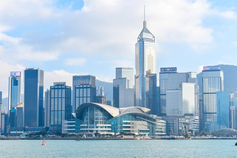 Hong Kong - November 16, 2017 : Close up high building next to ocean victoria harbour that attractive many tourist take photo high. Light view in hong kong on stock photography