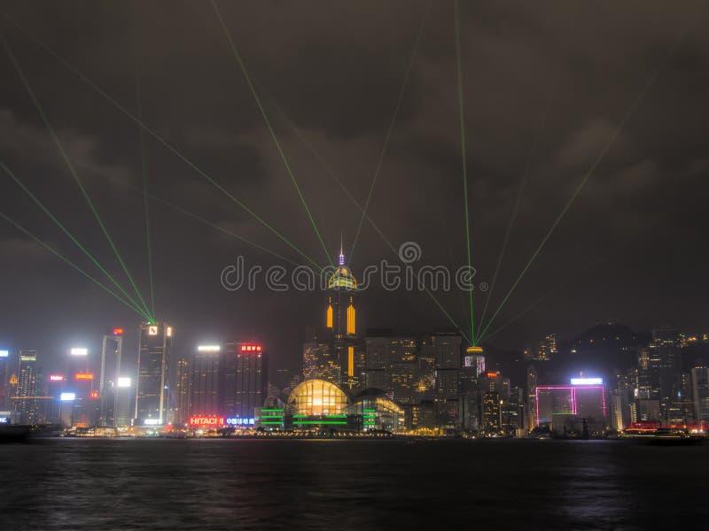 A Symphony of Lights. HONG KONG - NOVEMBER 9, 2014: Hong Kong`s Interactive lights show `A Symphony of Lights stock photo