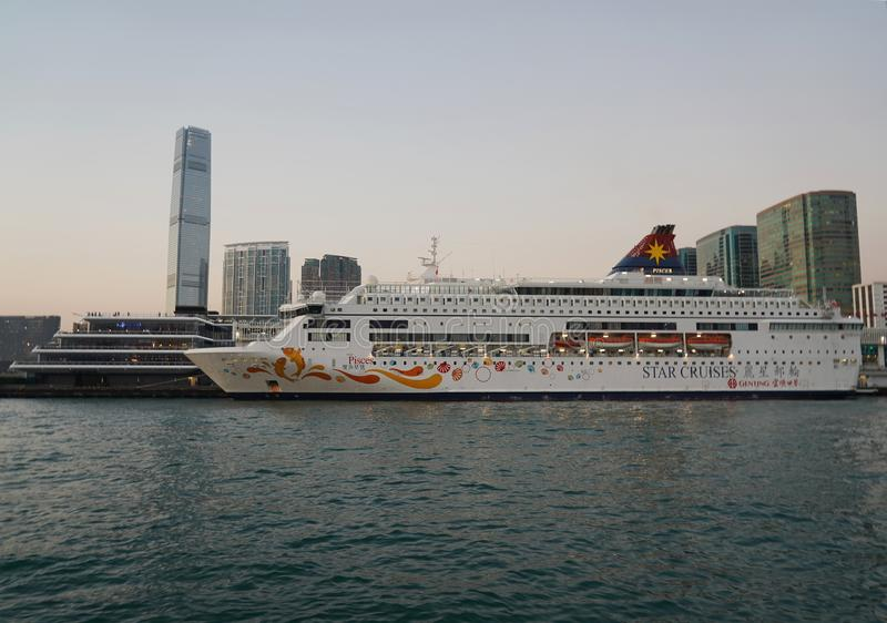 Star Pisces cruise ship in Hong Kong Harbor royalty free stock photography
