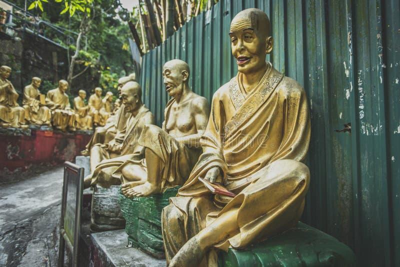 Hong Kong, novembre 2018 - uomo Sze grasso del monastero di Buddhas di diecimila immagine stock libera da diritti