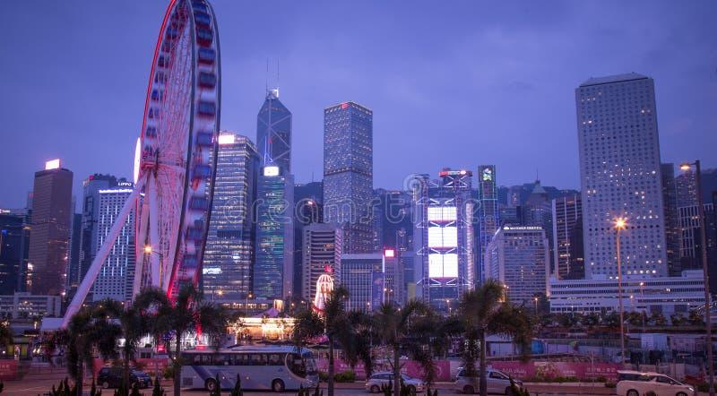 Hong Kong Observation Wheel en el parque de la vitalidad de AYA, isla de Hong Kong imagenes de archivo