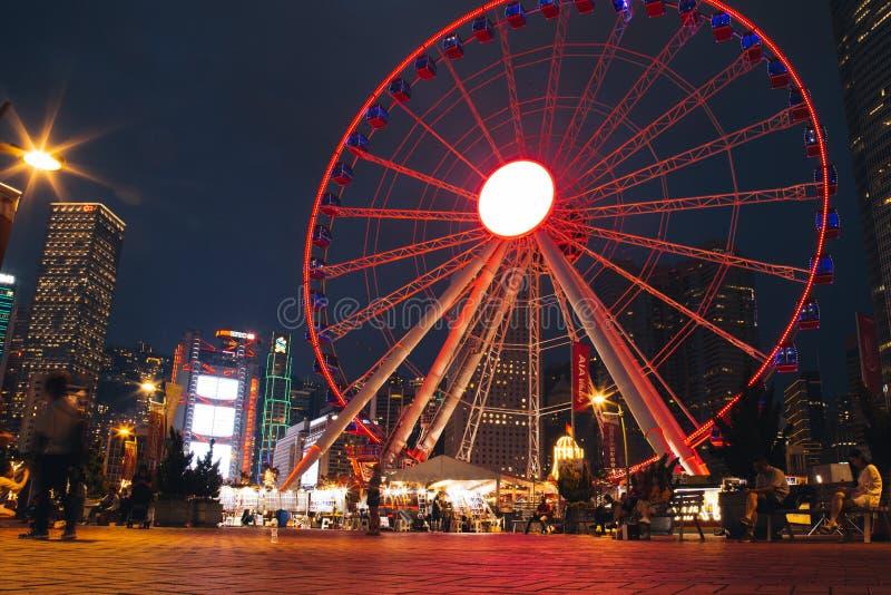 Hong Kong Observation Wheel en el parque de la vitalidad de AYA, isla de Hong Kong imágenes de archivo libres de regalías