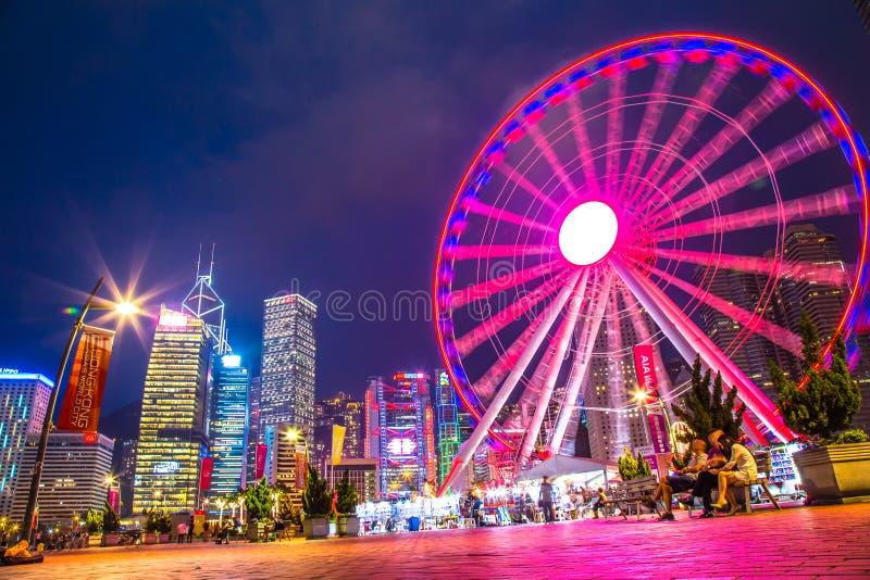 Hong Kong Observation Wheel en el parque de la vitalidad de AYA, isla de Hong Kong imagen de archivo