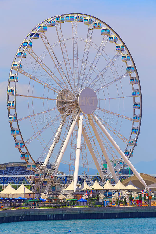 The hong kong observation wheel. 60 meters high hong kong observation wheel is the one of the popular attractions of hong kong now. this new attraction is hong stock image
