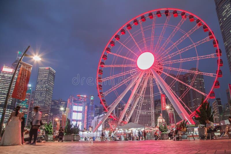 Hong Kong Observation Wheel no parque da vitalidade de AIA, ilha de Hong Kong fotografia de stock royalty free