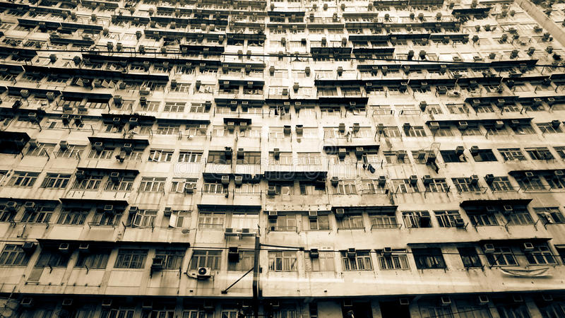 Hong Kong old resident apartment. Local life living in a pack sp stock photography