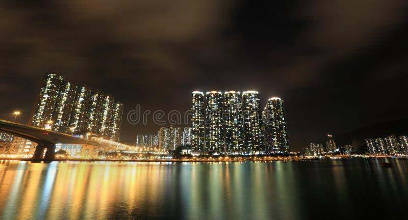 Hong Kong på natten arkivbilder