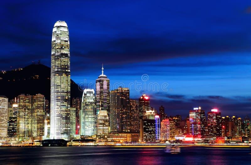 Download Hong Kong på natten arkivfoto. Bild av askfat, horisont - 27279538