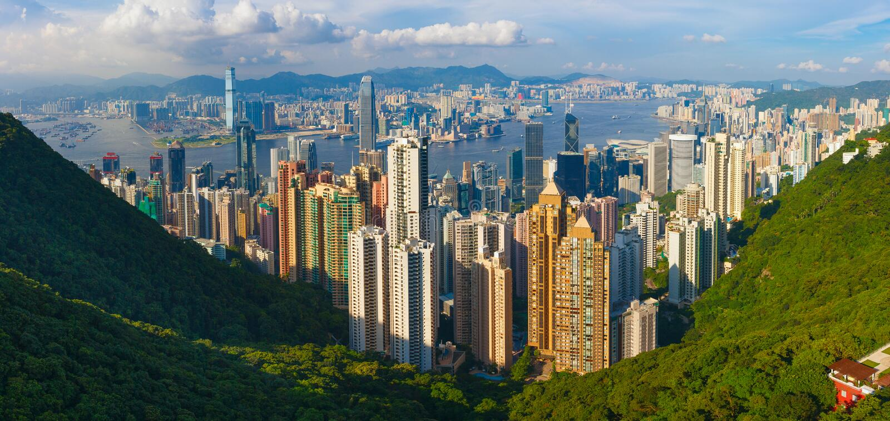 Hong Kong panorama arkivfoton